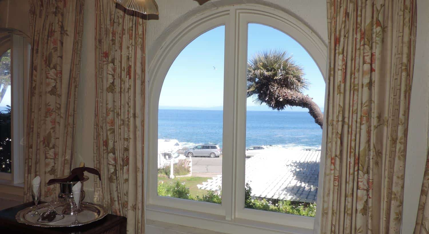 Eastlake guest room's arched double window overlooking the Bay
