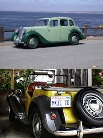 Top section has old light and dark green car parked by the Pacific Ocean with bottom section showing old yellow and black car